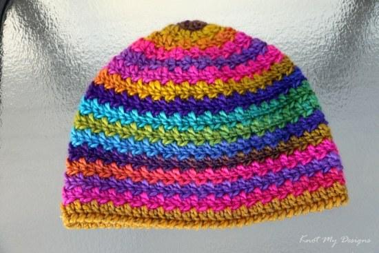 Crochet Skipped Loop Adult Beanie Free Pattern - Knot My Designs