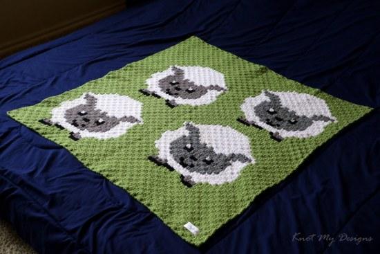 Crochet C2C Sheep Herd Baby Blanket - Knot My Designs