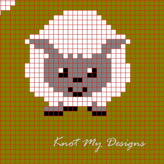 C2C Sheep Herd Blanket Pixel Section Grid Graph - Knot My Designs