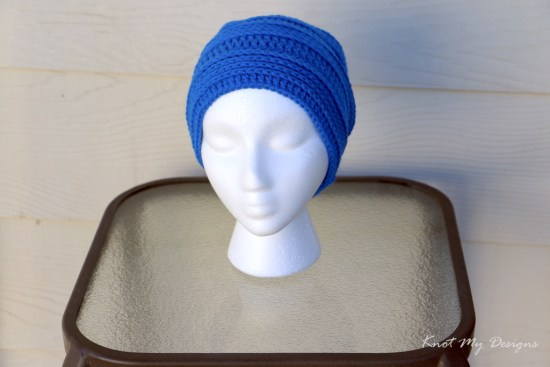 Crochet Rich Electric Blue Beanie Free Pattern - Knot My Designs