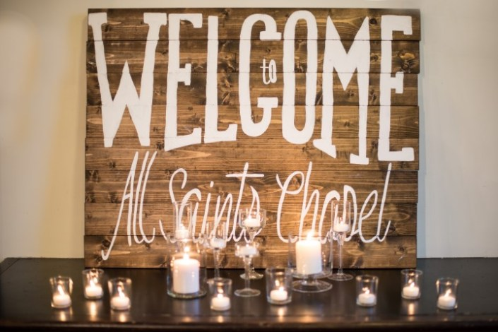 Shiplap Welcome Sign All Saints Chapel