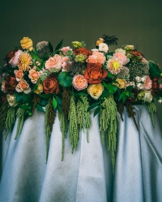 Wedding Centerpiece Shades of Pink, Orange, Yellow, and Green