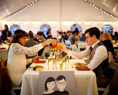 Bride Groom Toast Sweetheart Table