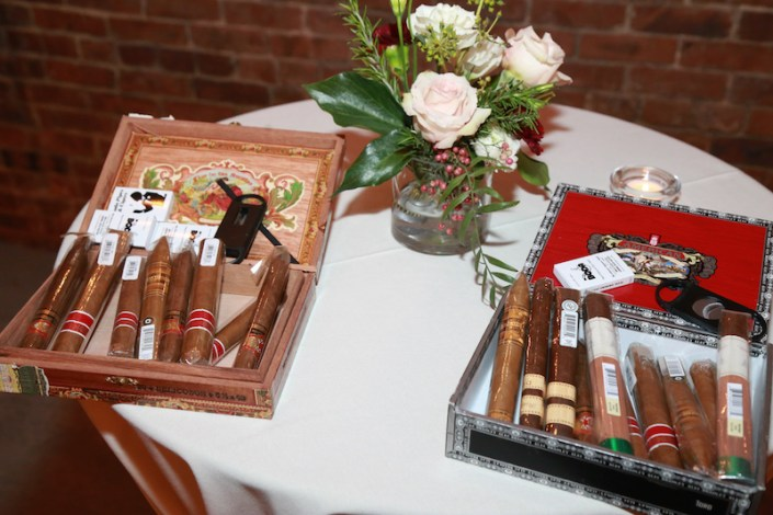 Cigar bar with small centerpiece