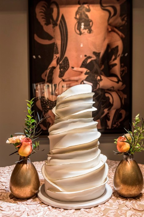 metal and gold wedding inspiration cake details