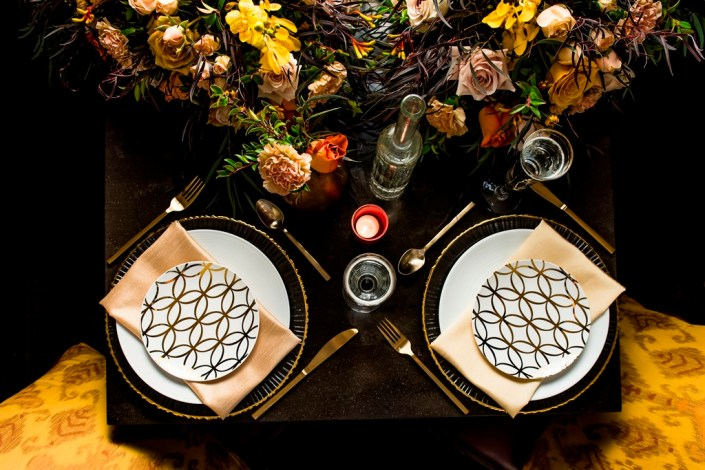 metal and gold wedding inspiration tables cape