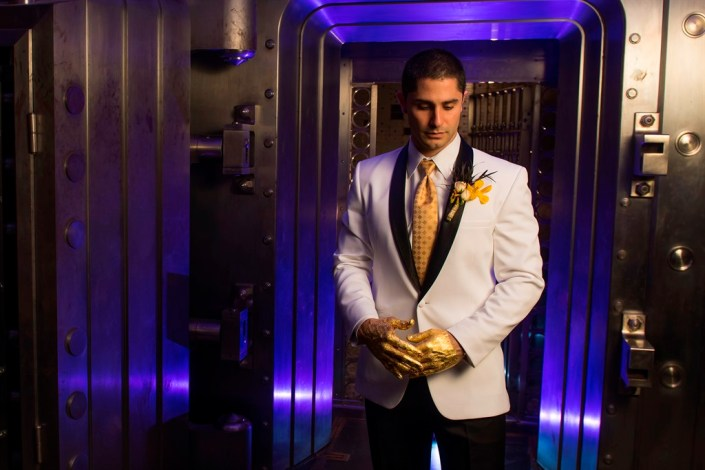 metal and gold wedding inspiration groom photo