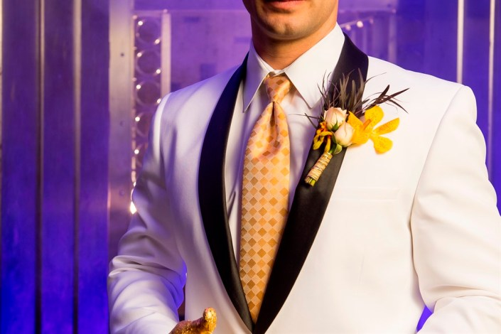 metal and gold wedding inspiration groom boutonniere photo