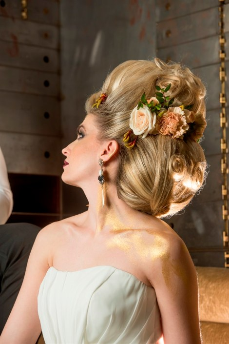 metal and gold wedding inspiration bridal headpiece details