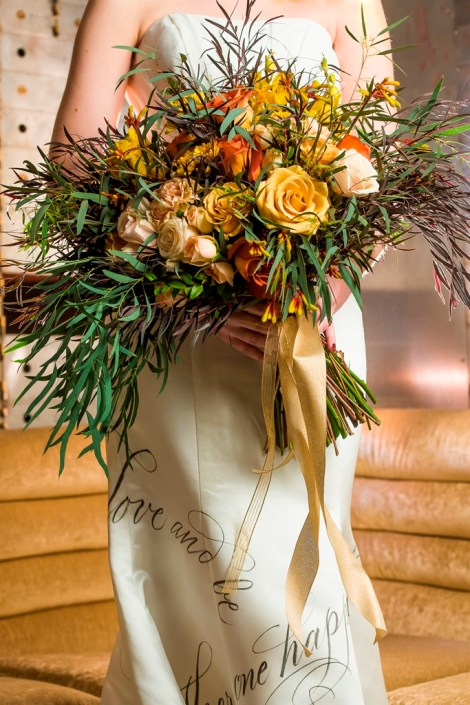 metal and gold wedding inspiration bridal bouquet close up