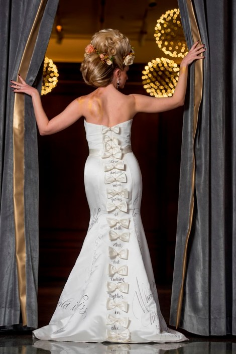 metal and gold wedding inspiration bridal portrait back view closeup