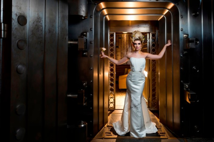 metal and gold wedding inspiration bridal portrait industrial