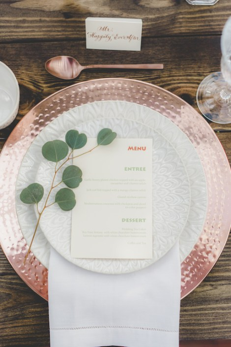 copper placesetting with wedding menu