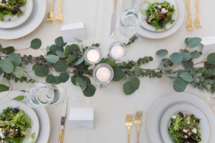 greenery-runner-candles-raleigh-wedding