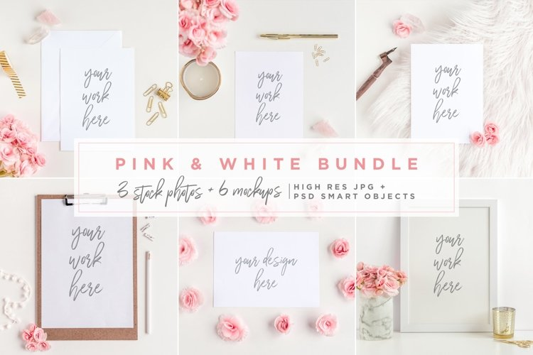 pink and white mockups