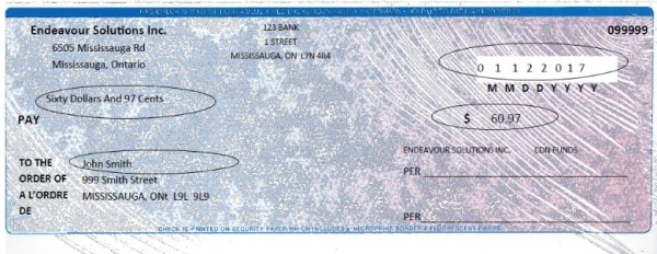 Sample of bad cheque in Dynamics GP - GP Cheque printing