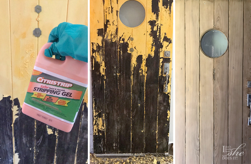 Wooden door before and after