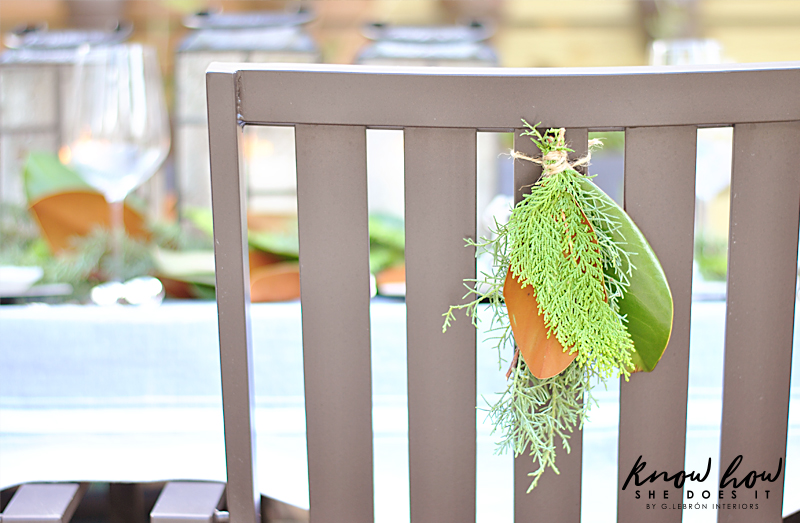 Magnolia leaves back chair decor 2