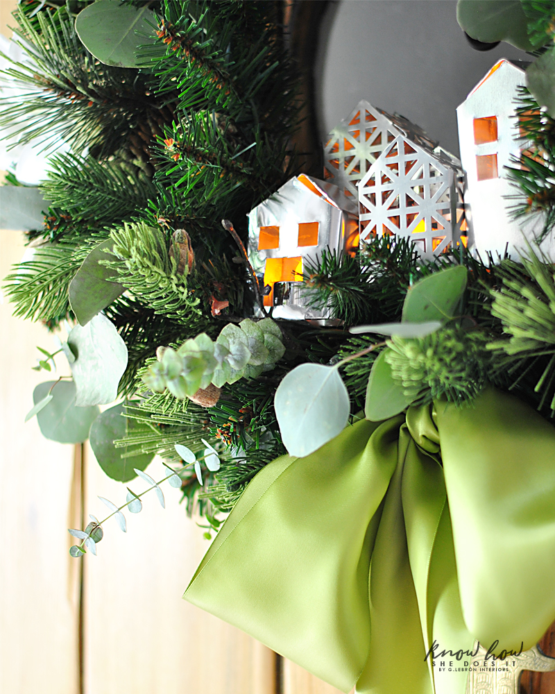 little metal houses in wreath 2