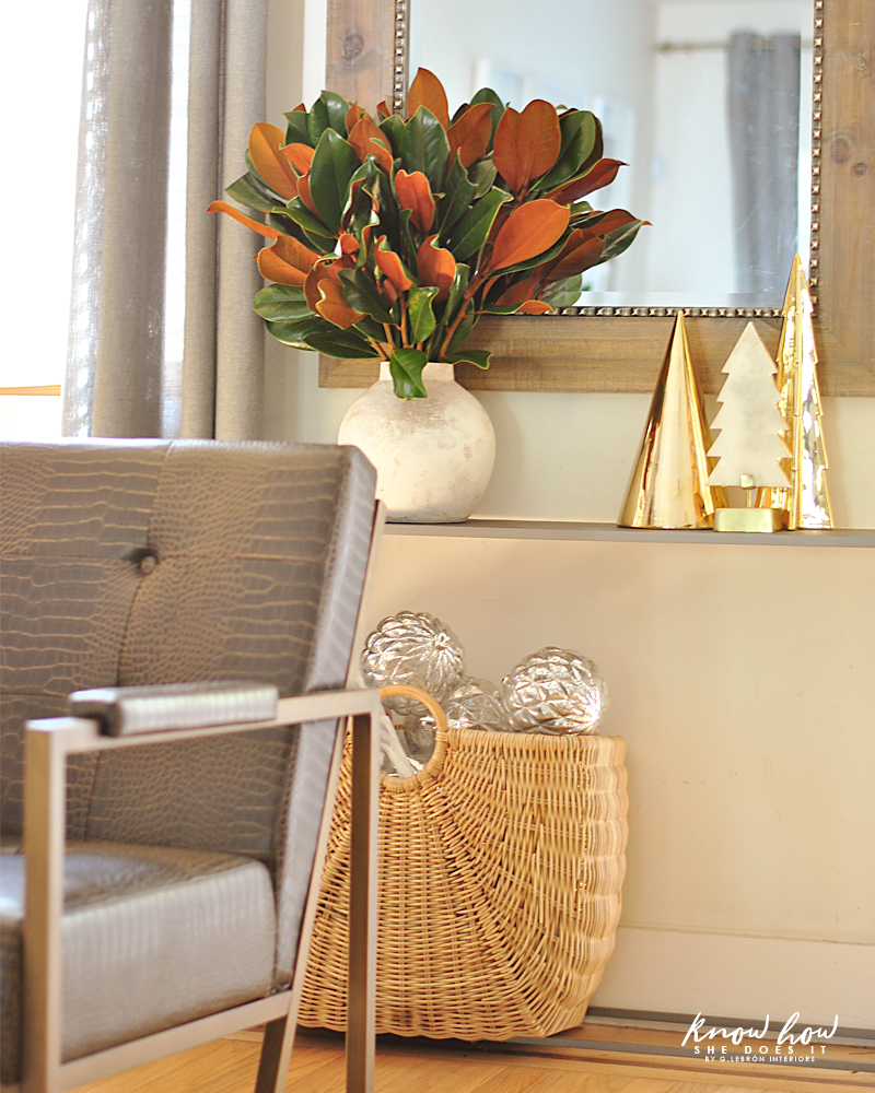 Magnolia leaves entryway arrangement