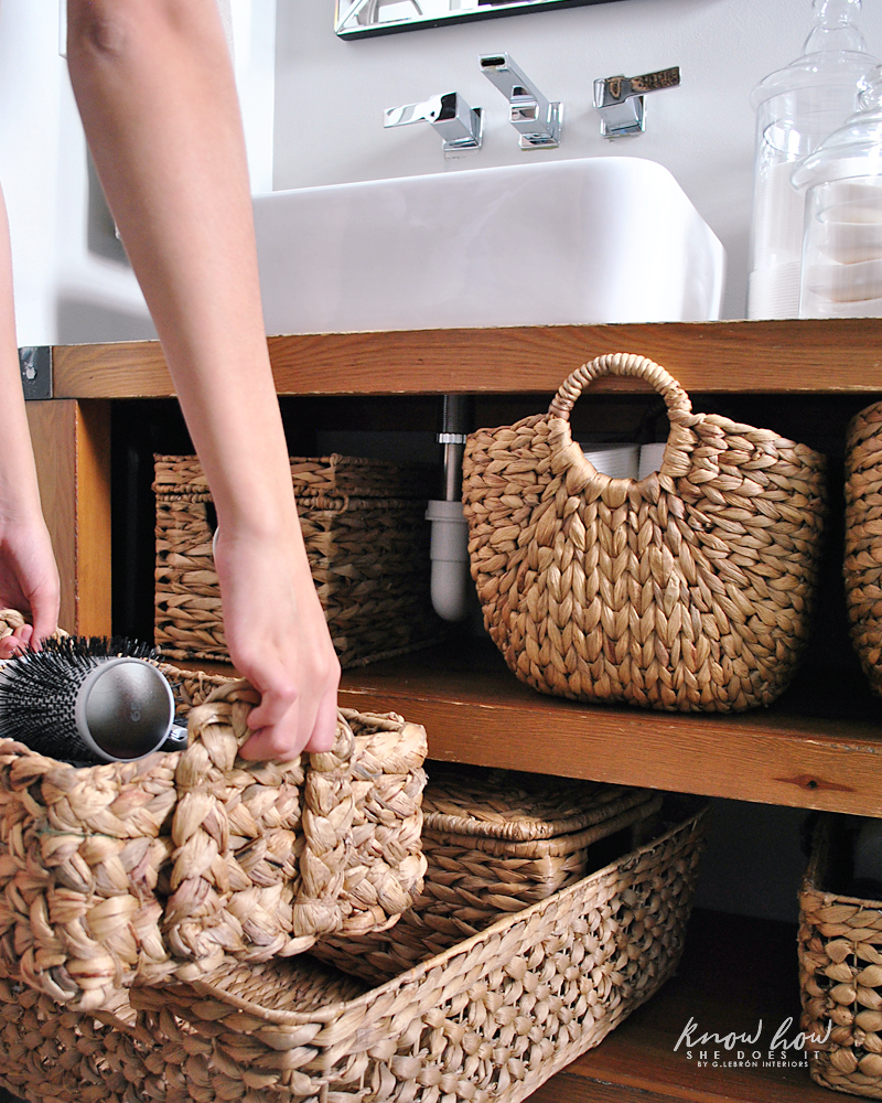 Bathroom Organization basket on basket