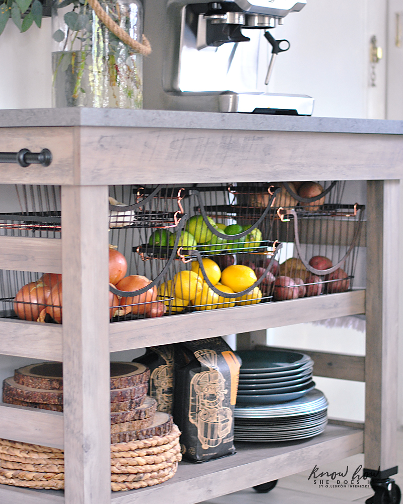 Coffee station and storage ideas for small kitchens stackable baskets