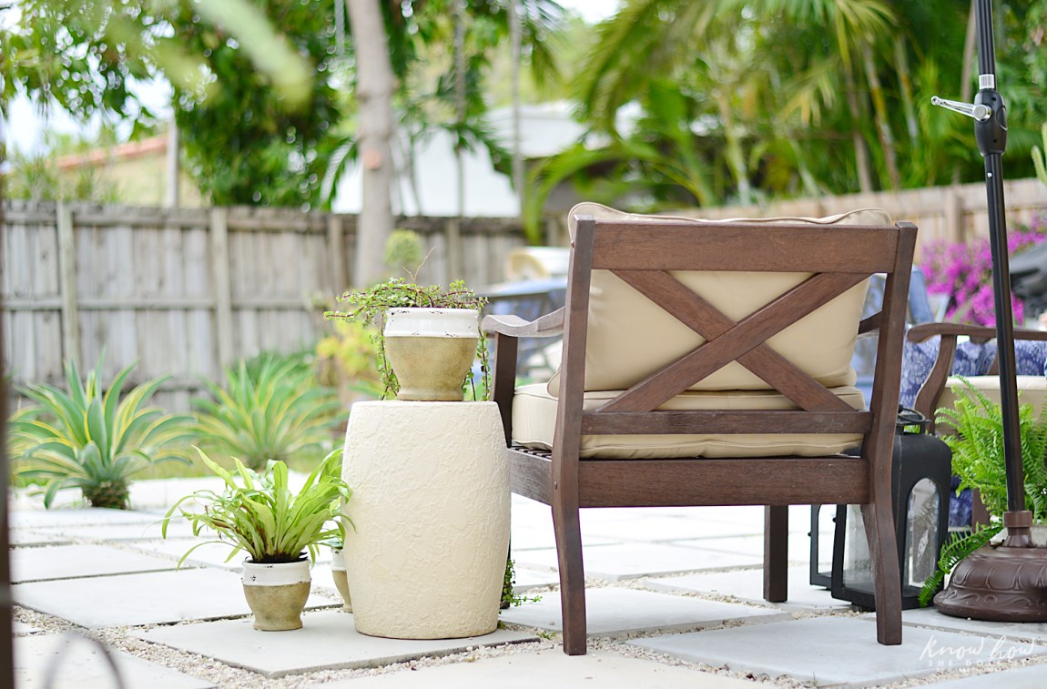 Colorful mix and match outdoor patio pieces 1