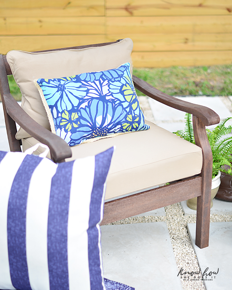 Colorful mix and match outdoor patio pieces pillows