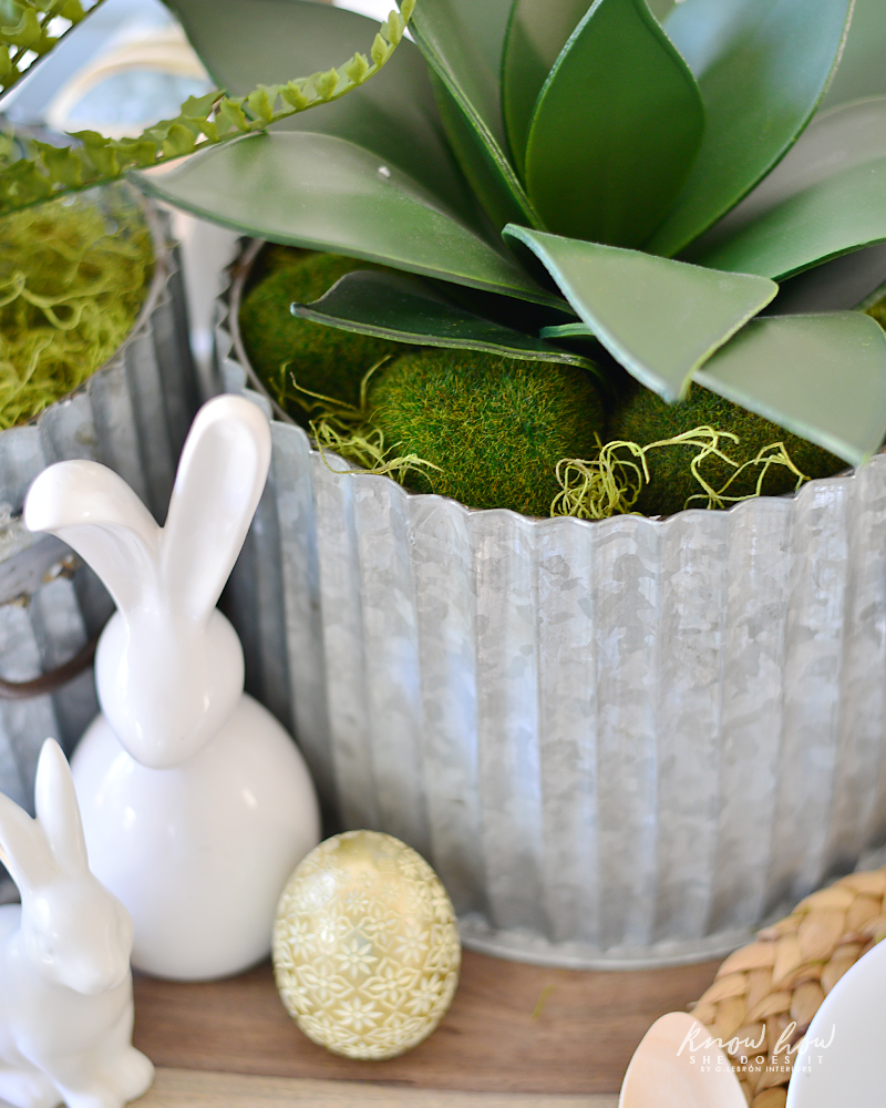 Easter kids friendly table setting faux plant