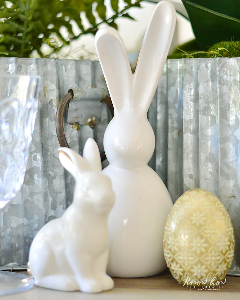 Easter kids friendly table setting ceramic bunnies