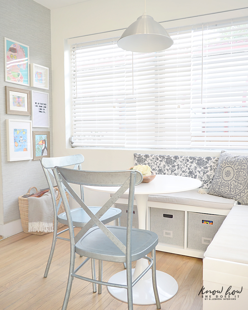 Breakfast Nook with storage area wallpaper