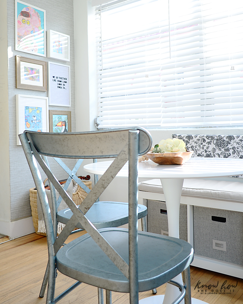 Breakfast Nook with storage area wall art 1