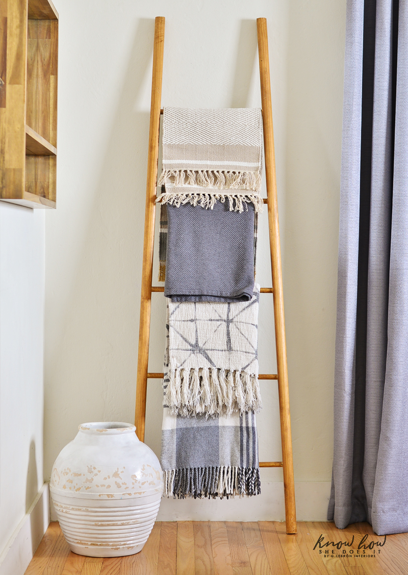 A dash of neutral boho throw rack