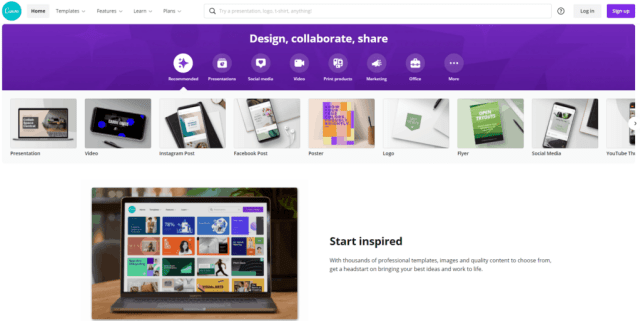 Homepage of Canva