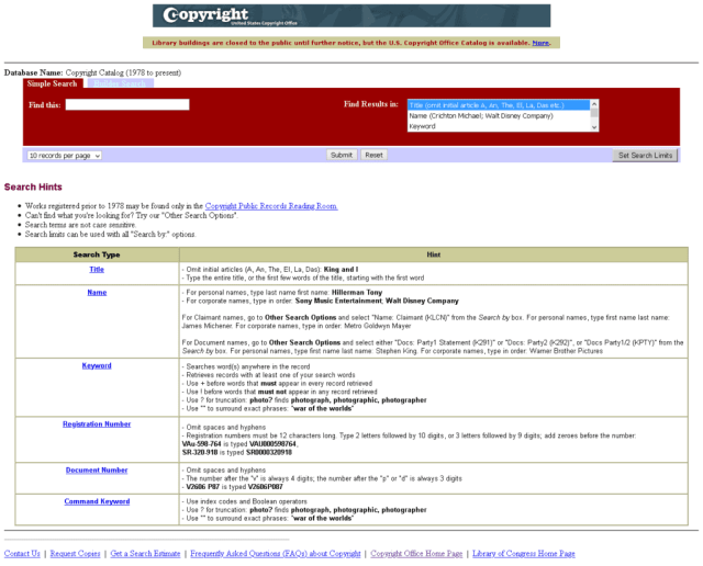 Example of a search on the US Copyright Office website