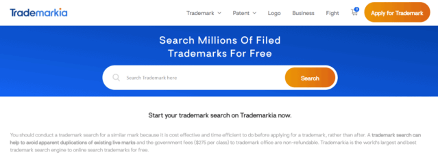 Trademarkia search for a trademark