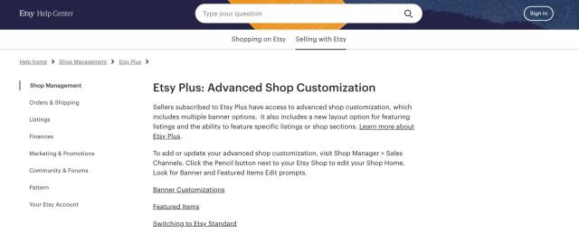 Etsy ecommerce features
