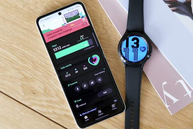 Samsung Health screen, and the Galaxy Watch 4 Classic