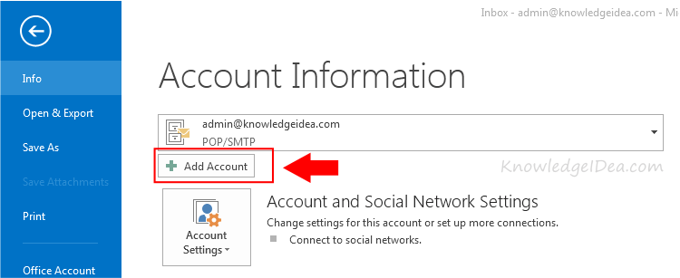How to Add Your Gmail Account to Outlook step 2