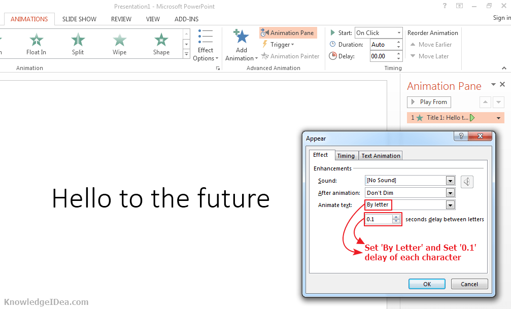 Keyboard Typing Effect on Text in PowerPoint Step 4