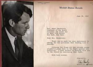 Robert Kennedy Thanking Hazel Henderson and Citizens for Clean Air