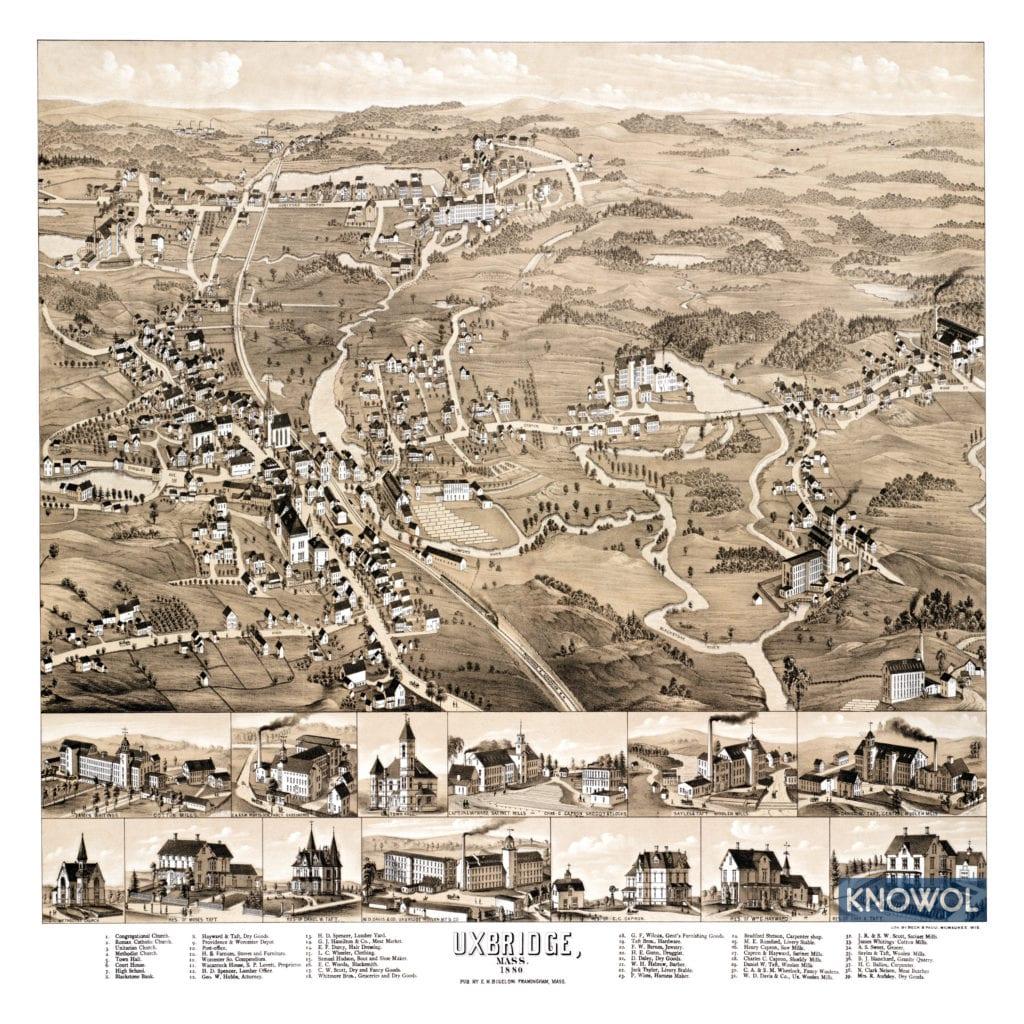 Historic Old Map Of Uxbridge Massachusetts From 1880