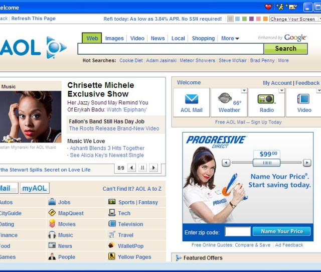 Screenshot Of Aols Home Page From October 21st 2009