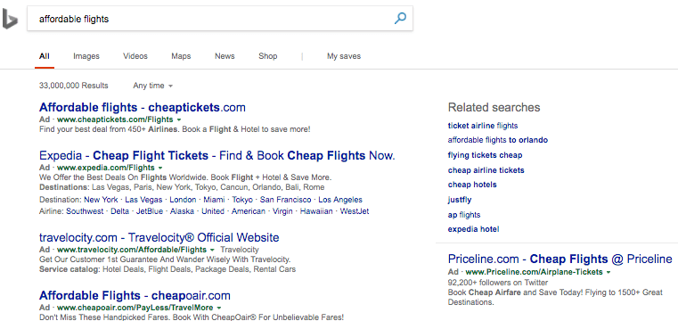 Example of mainline & sideline ads on Bing SERP.