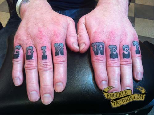 GOIN WEST Knuckle Tattoos