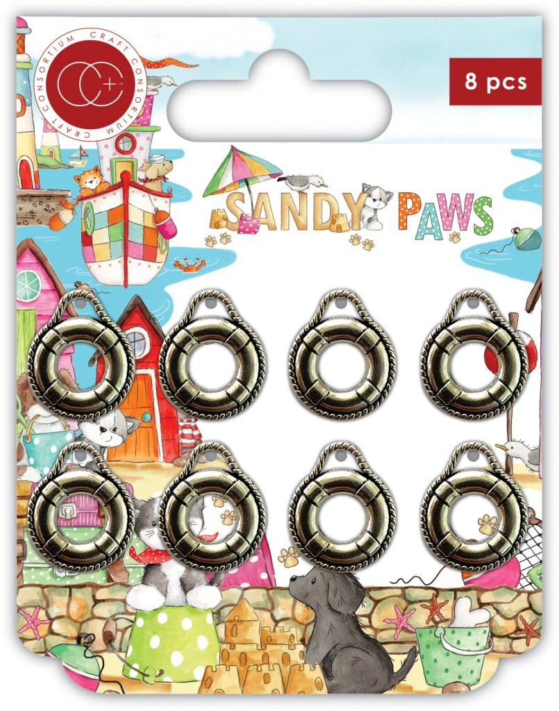 Craft Consortium Sandy Paws Life Rings Metal Charms