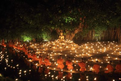 Buddhist Monks Wat Pan Tao temple in Chiang Mai, Thailand