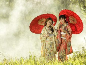 Women wearing traditional Japanese kimono