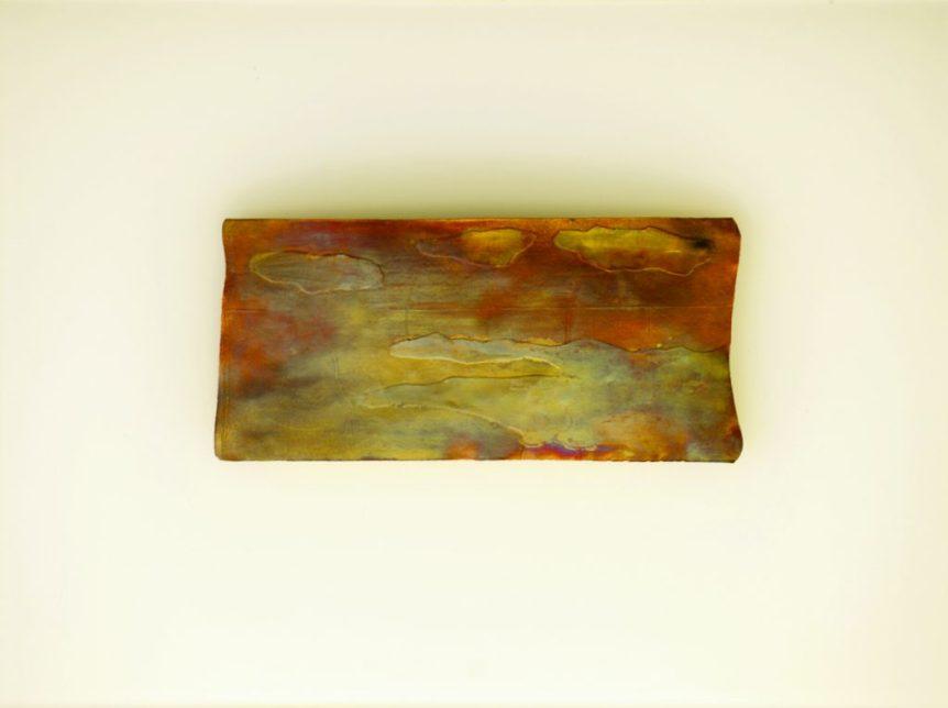 "Sara Beth Carnat ""Dusk"" 11.25"" x 17"" framed 8.5"" 4"" x .5"" Copper and Sterling Silver"