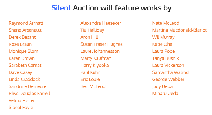 The Silent Auction Artists
